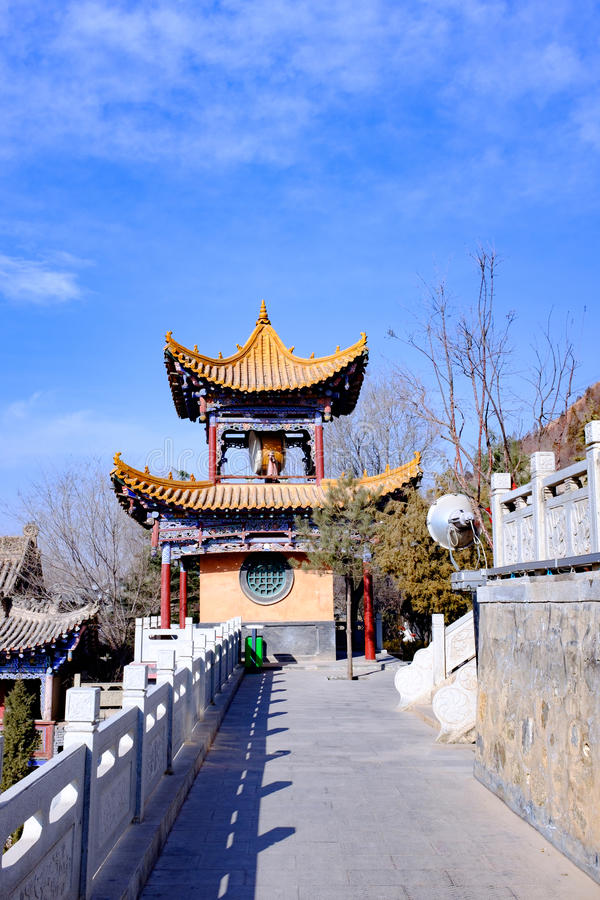 Concept of xining city in qinghai province beishan tulou, also known as the north yamadera royalty free stock photography