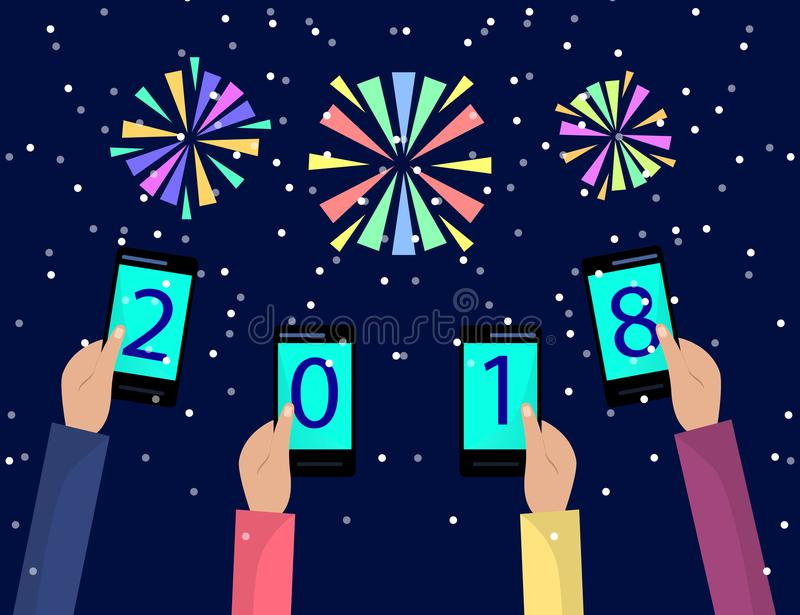 Concept of xmas and new year holidays celebration with fireworks for Greeting card design. Hands holding mobile phones. Flat illus royalty free illustration