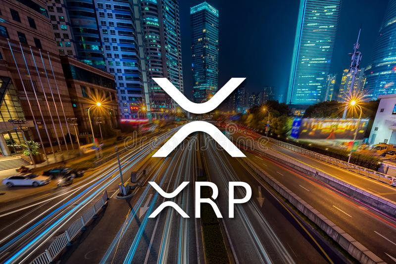 Concept of XRP Ripple coin. Moving fast on the road, a Cryptocurrency blockchain platform , Di royalty free stock photo