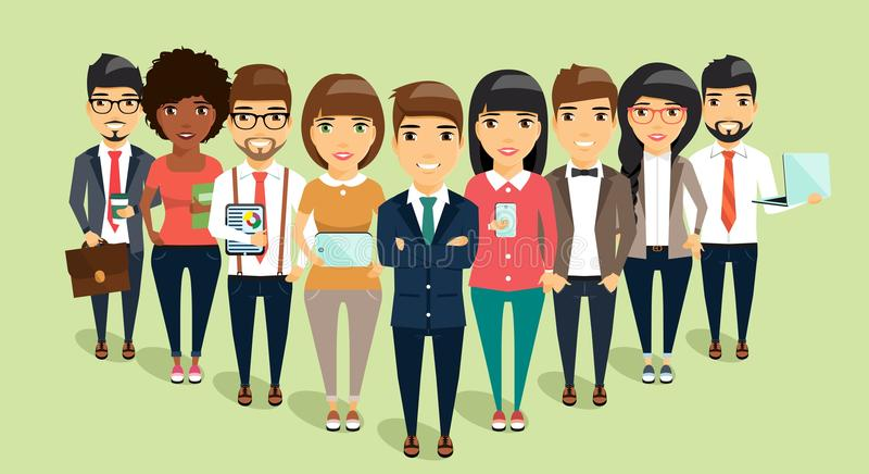 Concept of a young business team headed by the leader stock photos