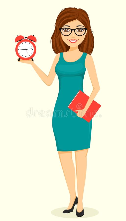 Concept, young businessman girl. A girl with an alarm clock in her hand. Business and Finance. stock photography