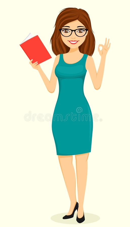 Concept, young businessman girl. The girl reads a book and makes a gesture. Business and Finance. stock photos