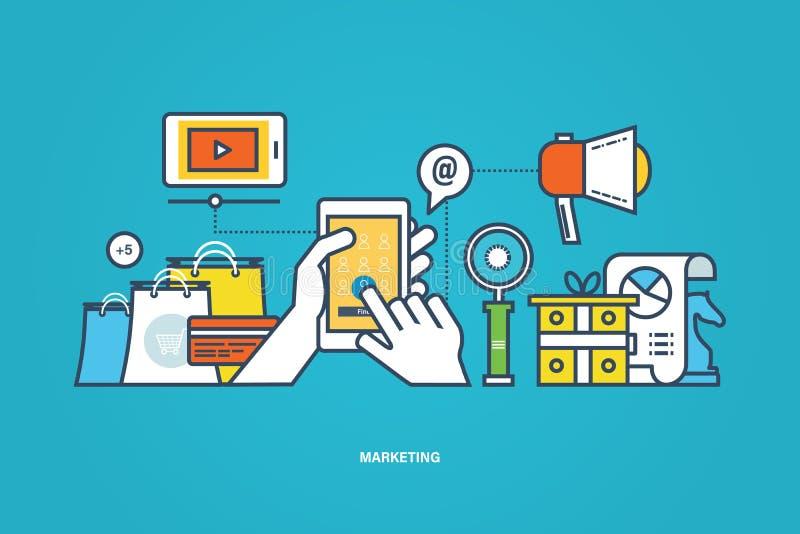 Concept - zaken en marketing, marktonderzoek, hulpmiddel voor studie stock illustratie