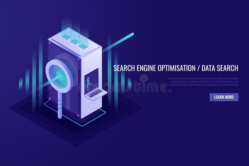 Concept zoekmachineoptimalisering en gegevensonderzoek Vergrootglas met serverrek 3d Isometrick-stijl stock illustratie