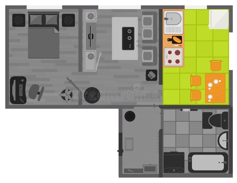Concepten binnenlands vlak ontwerp op hoogste mening vector illustratie