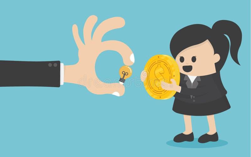 Concepten de bedrijfsvrouwen ruilen geld met creatieve ideeën royalty-vrije illustratie