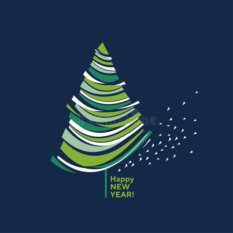 Concepten decoratieve samenvatting geïsoleerde Kerstboom vector illustratie