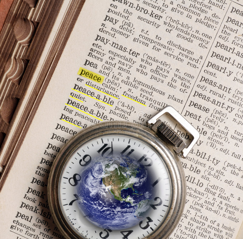 Concepten en Symbolen, Zakhorloge en Woordenboek, Definitie van royalty-vrije stock afbeeldingen