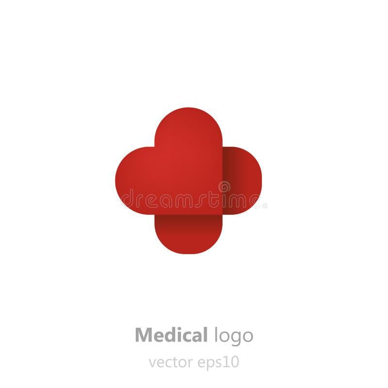 Concepten Medisch embleem Kleefstof patchin de vorm van hart Logotype voor kliniek, het ziekenhuis of arts vector illustratie