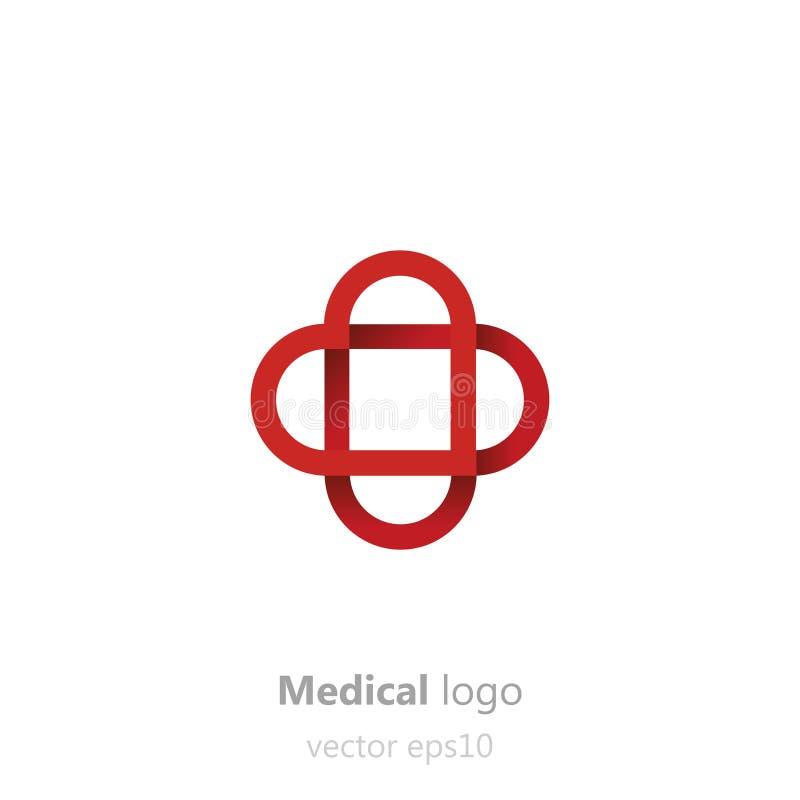 Concepten Medisch embleem Kleefstof patchin de vorm van hart Logotype voor kliniek, het ziekenhuis of arts stock illustratie