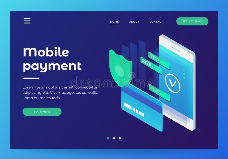 Concepten mobiele betalingen, persoonlijke gegevensbescherming stock illustratie