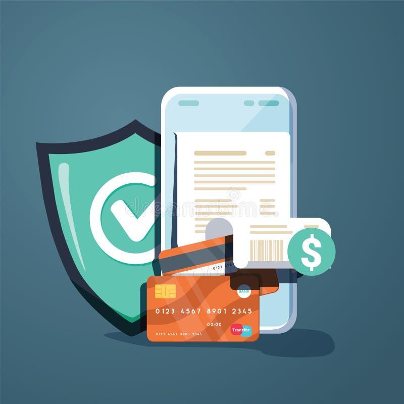 Concepten mobiele betalingen, persoonlijke gegevensbescherming Kopbal voor w royalty-vrije illustratie