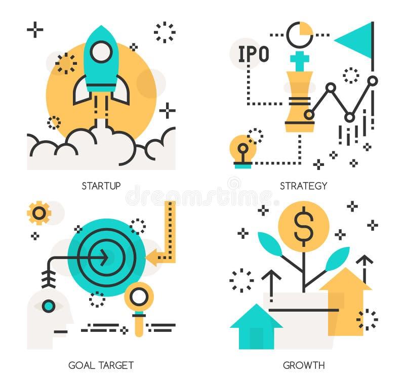 Concepten Opstarten, Strategie, Doeldoel royalty-vrije illustratie