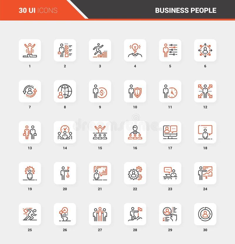 Concepten van het het Webpictogram van de bedrijfsmensen de Vlakke Lijn royalty-vrije illustratie