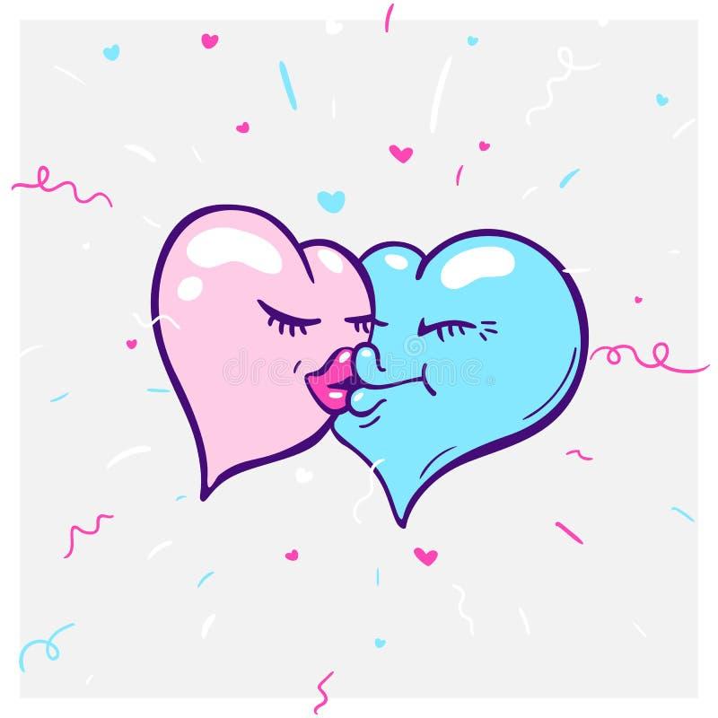 Concepten vectorformule van liefde - hartpictogrammen van jongensmeisje Dit grafisch vertegenwoordigt ook een mens met snorpictog stock illustratie