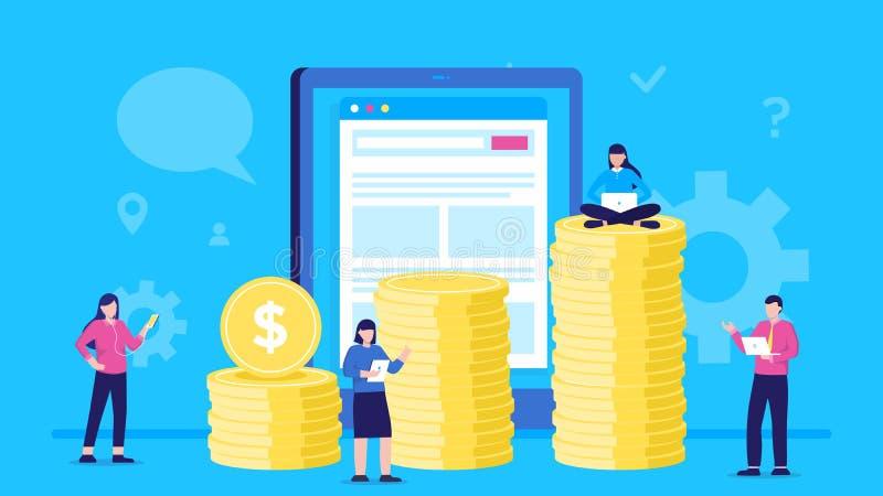 Concepten vectorillustratie van mensen die muntstukken online dragen in tabletzakgeld grafiek van kolommen van muntstukken Manier vector illustratie