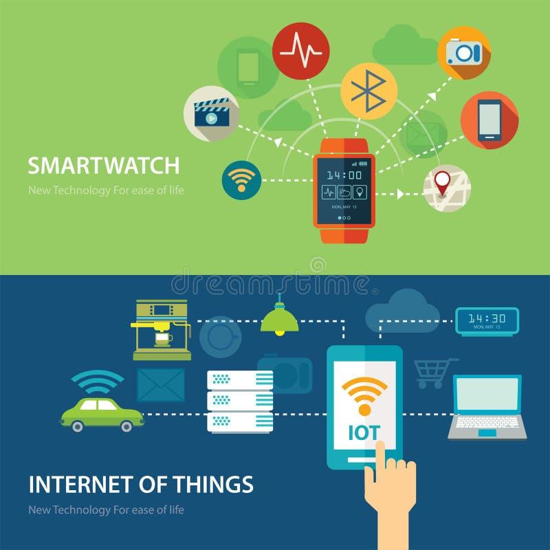 Concepten voor slim horloge en Internet van dingen vlak ontwerp stock illustratie