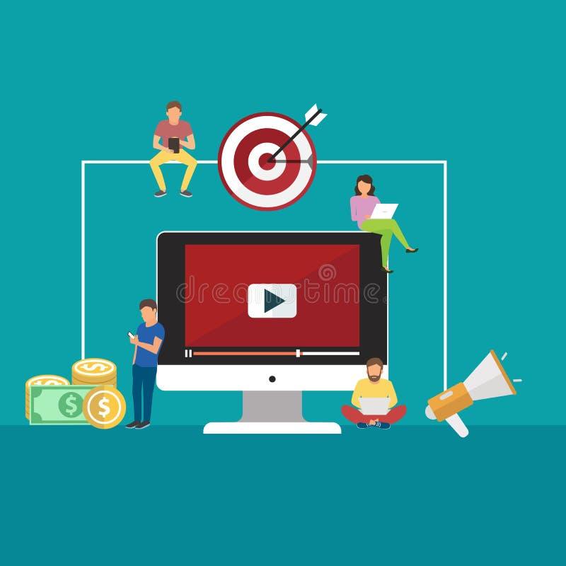 Concepten voor video en digitale marketing, reclame, sociale media, Web en mobiele toepassing en de diensten, e-commerce, SEO vector illustratie