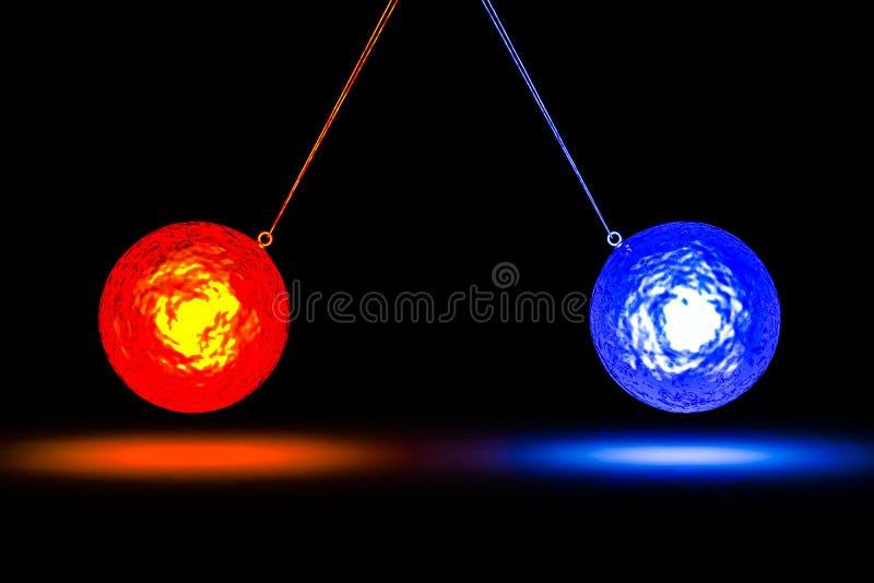Conceptenbeeld die een botsing met twee vuurbollen tonen stock illustratie