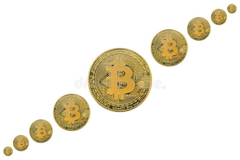 Conceptenbeeld met fysiek muntstuk van bitcoincrypto munt het wijzen op van de oplopende markt van de prijsgroei Geïsoleerde witt royalty-vrije stock afbeelding