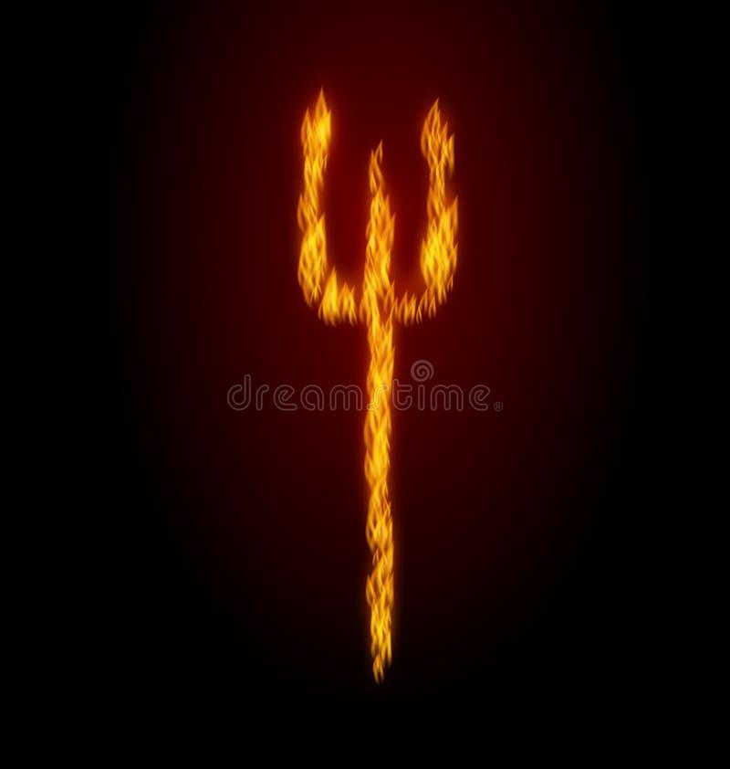 Conceptenbrand Trident op Zwarte Achtergrond royalty-vrije illustratie