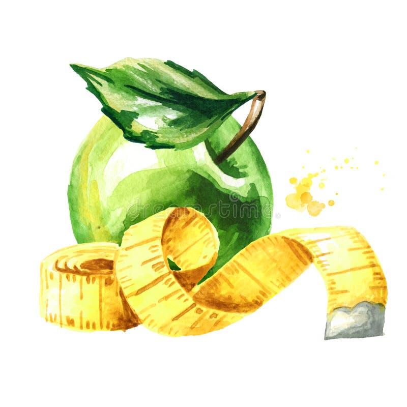 Conceptendieet Gezond voedsel met groene appel en het meten van band Waterverfhand getrokken die illustratie, op witte achtergron stock illustratie