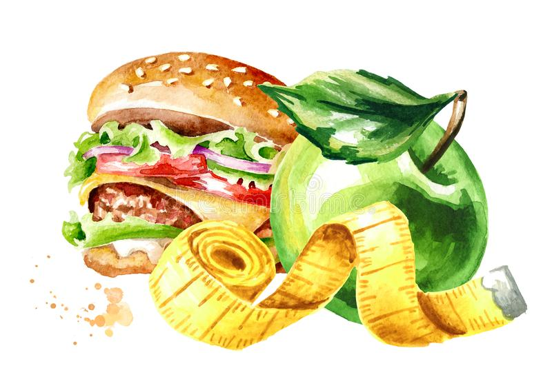 Conceptendieet Gezond voedsel met hamburger of groene appel en het meten van band waterverfhand getrokken die illustratie, op wit stock illustratie