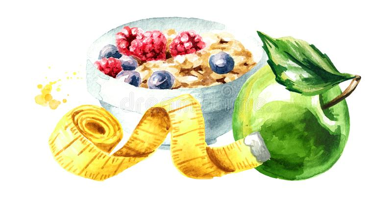 Conceptendieet Gezond voedsel met muesli, groene appel en het meten van band waterverfhand getrokken die illustratie, op wit word royalty-vrije illustratie
