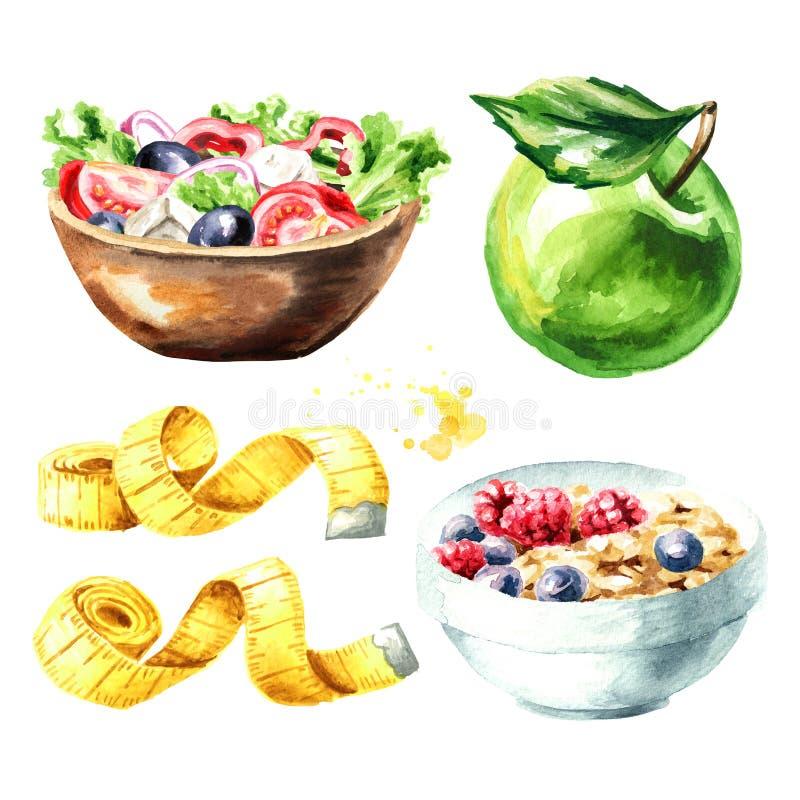 Conceptendieet Gezond voedsel met muesli, plantaardige salade, groene appel en het meten van bandreeks Waterverfhand getrokken il royalty-vrije illustratie