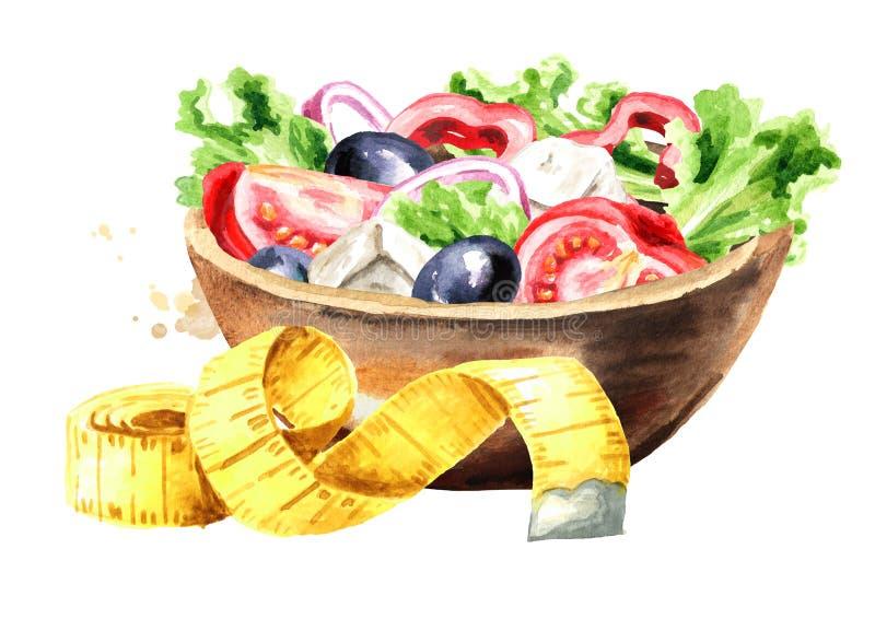 Conceptendieet Gezond voedsel met plantaardige salade en het meten van band Waterverfhand getrokken die illustratie op wit wordt  vector illustratie
