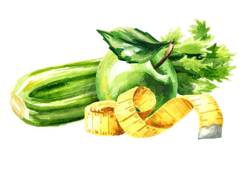 Conceptendieet Gezond voedsel met selderie, groene appel en het meten van band Waterverfhand getrokken die illustratie op wit wor vector illustratie