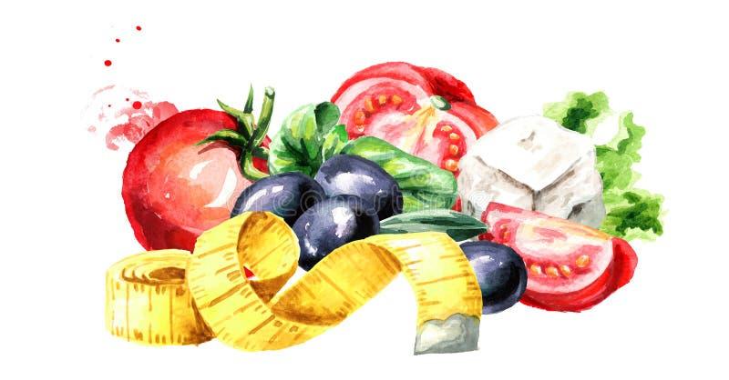 Conceptendieet Gezond voedsel met verse groente salade en het meten van band Waterverfhand getrokken die illustratie op wit wordt stock illustratie