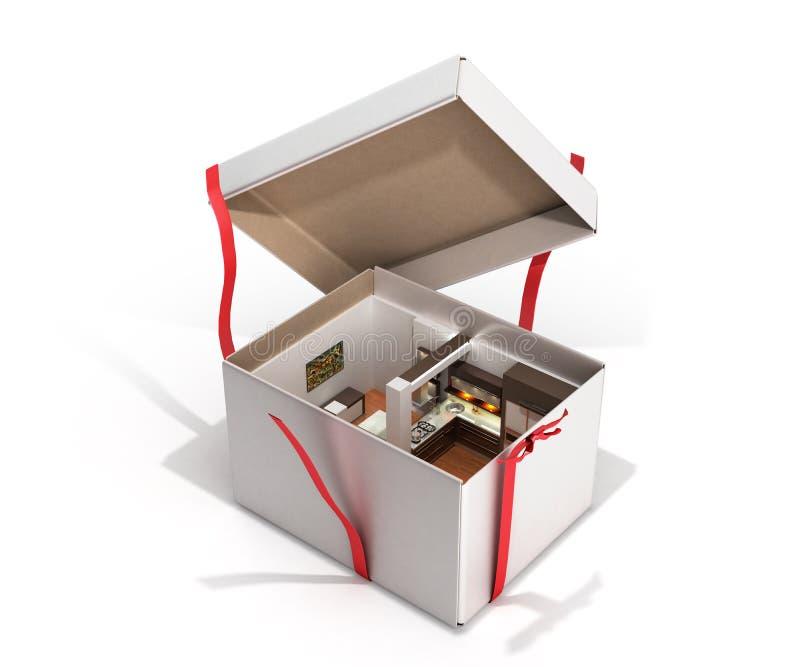 Conceptenflat als binnenland van de giftkeuken in een open doos 3d r vector illustratie