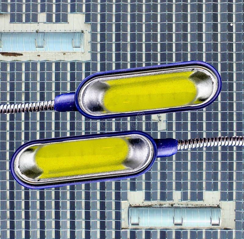 Conceptenfoto, installatie van de luchtmening van een zonnesyst stock afbeelding