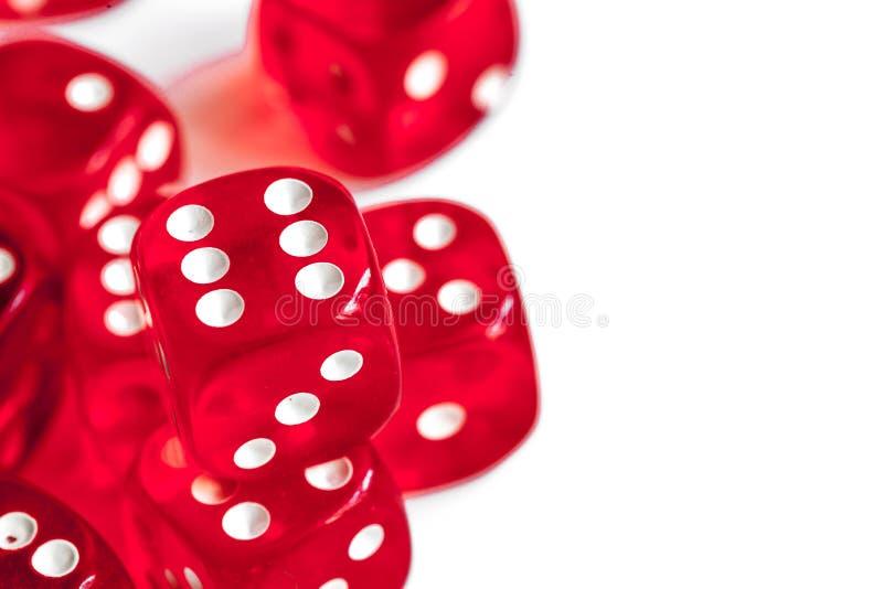 Conceptengeluk - dobbel het gokken op witte achtergrond stock fotografie