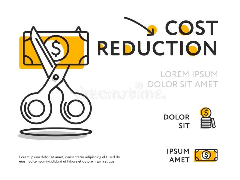 Conceptengrafiek voor kostenvermindering royalty-vrije illustratie