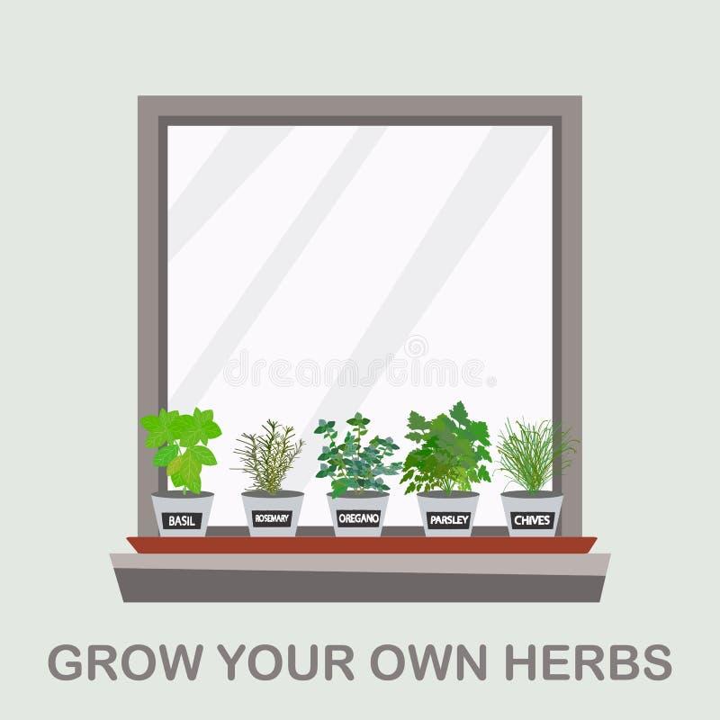 Conceptenidee om uw eigen kruiden als vriendschappelijk leven van Eco te kweken stock illustratie