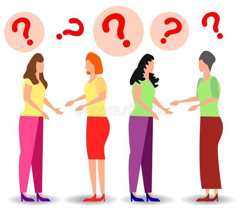 Conceptenillustratie die van mensenveelgestelde vragen, antwoord aan de metafoor van wachten worden geantwoord royalty-vrije illustratie