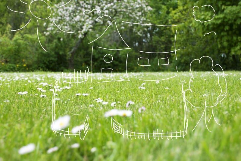 Conceptenillustratie van Huis met Omheining In The Green royalty-vrije stock foto's