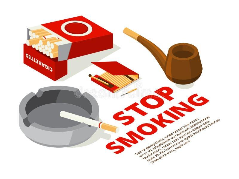 Conceptenillustraties van einde het roken thema Diverse isometrische beelden van hulpmiddelen voor rokers royalty-vrije illustratie