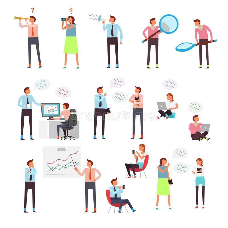 Conceptenkarakters die Internet, de sociale netwerken en de online winkels surfen stock illustratie