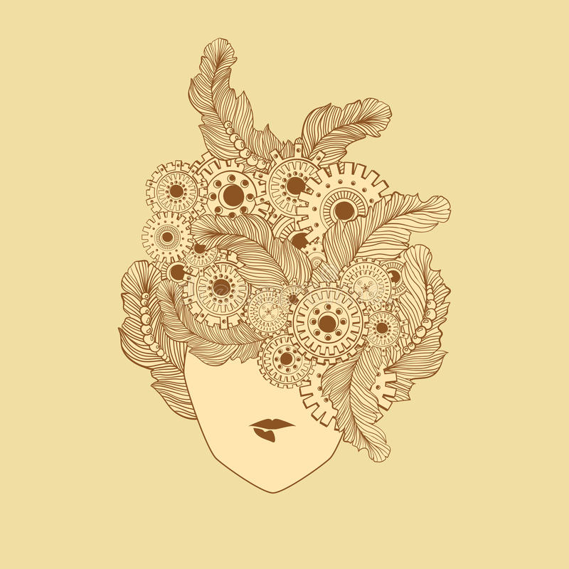 Conceptenkunst met gestileerde dameshaar en veren, technologieelementen, tandwielen Het gezicht van de vrouwenmanier kan worden g stock illustratie