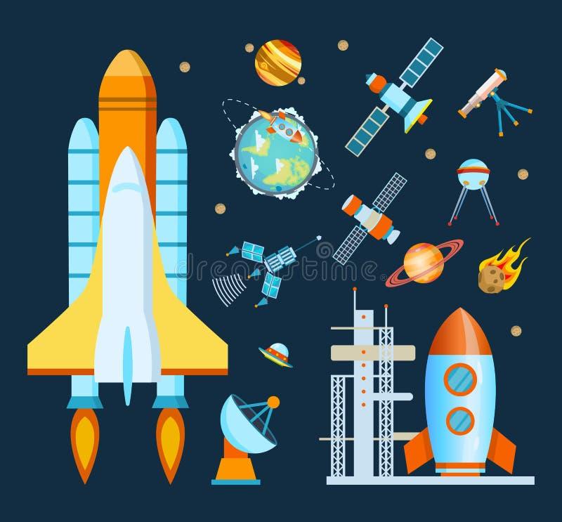 Conceptenruimte Raket, ruimtevaartuig, satellietlancering, vlucht rond de Aarde vector illustratie