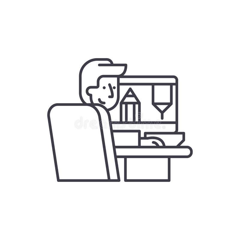 Concepteur à la ligne concept de travail d'icône Concepteur à l'illustration linéaire de vecteur de travail, symbole, signe illustration stock