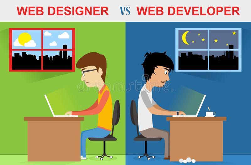 Concepteur de Web contre le développeur web photos stock