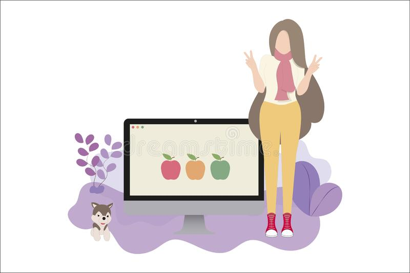 Concepteur de Web fi?rement pr?senter son travail illustration stock