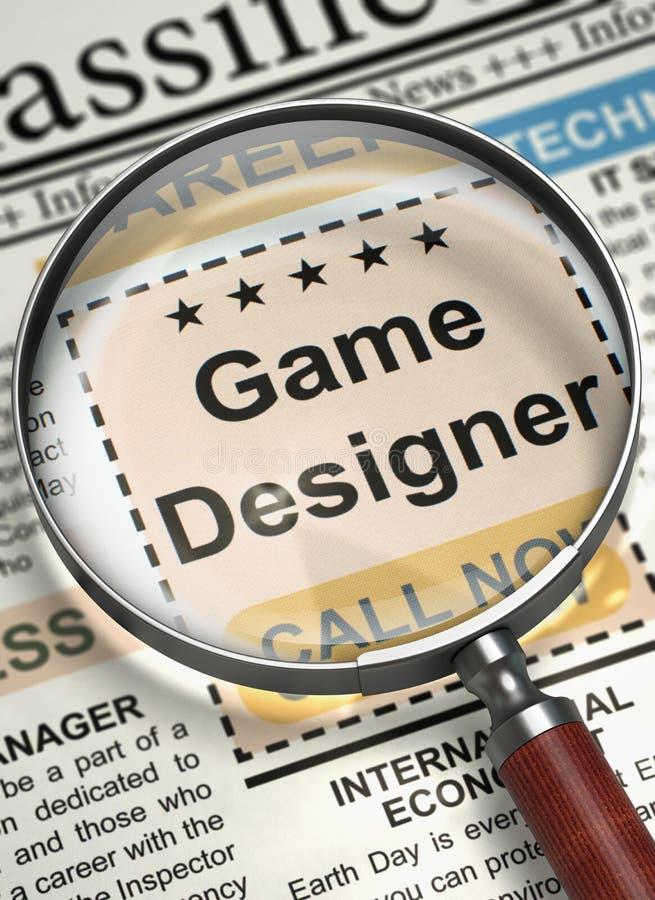 Concepteur Hiring Now de jeu 3d illustration de vecteur