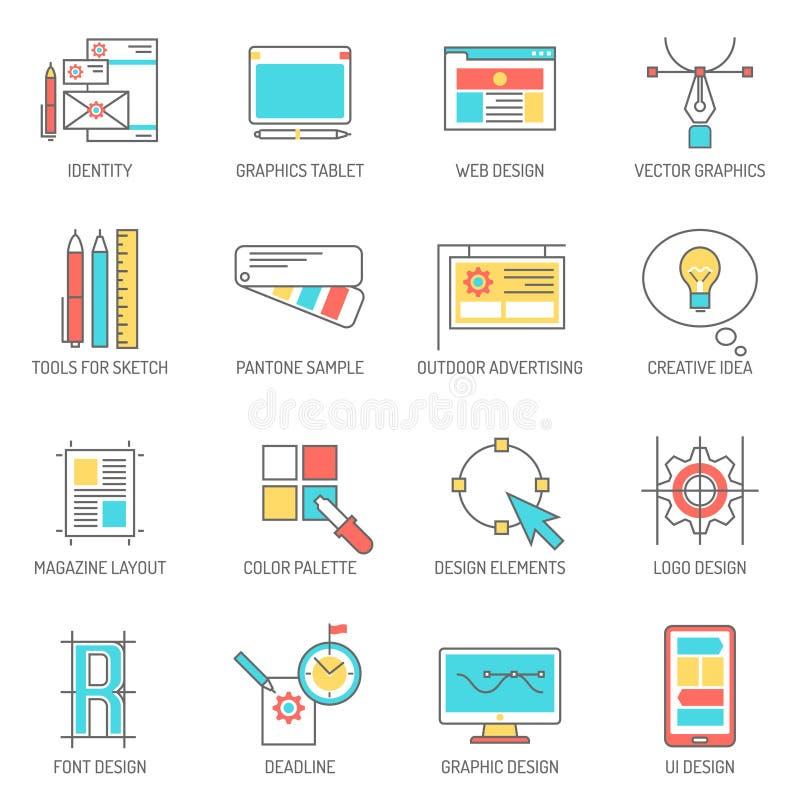 Concepteur Icons Line Set illustration libre de droits