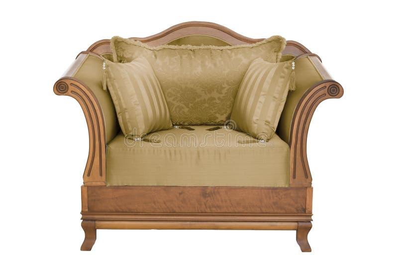 Concepteur moderne classique de fauteuil de tissu et en bois photos libres de droits