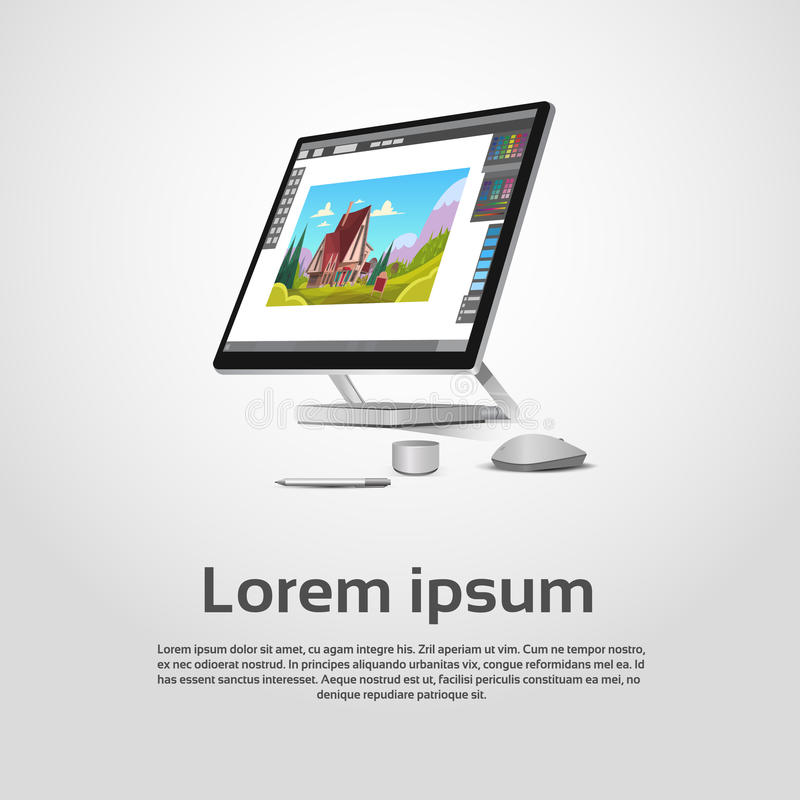 Concepteur moderne de bureau Workplace d'infographie illustration stock